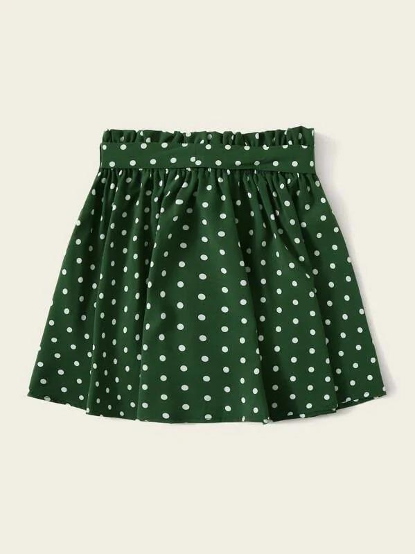 Paperbag Waist Polka Dot Skirt