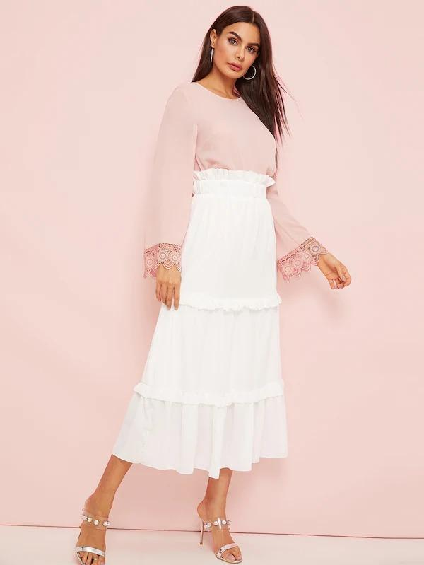 Paperbag Waist Ruched Trim Skirt