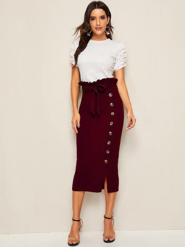Paperbag Waist Self Belted Button Side Pencil Skirt