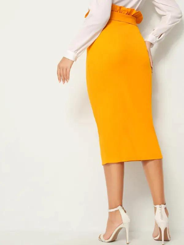 Paperbag Waist Single Breasted Split Hem Skirt
