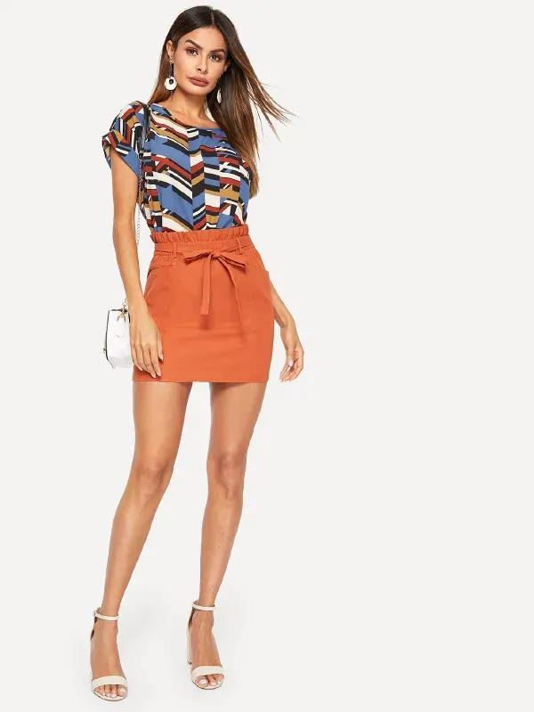 Paperbag Waist Slant Pocket Skirt