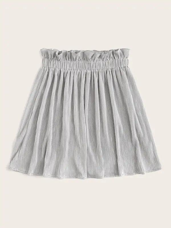 Paperbag Waist Solid Pleated Skirt