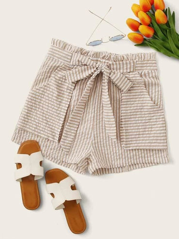 Women Paperbag Waist Belted Striped Shorts