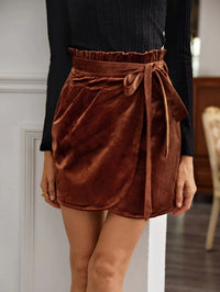Women Paperbag Waist Belted Wrap Detail Velvet Skirt