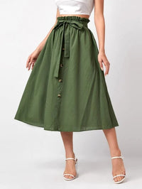 Women Paperbag Waist Button Front Belted Skirt