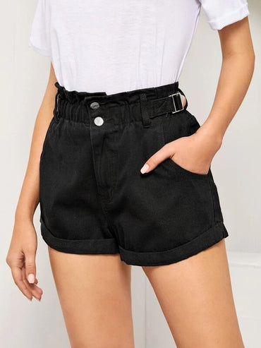 Women Paperbag Waist Cuffed Hem Denim Shorts
