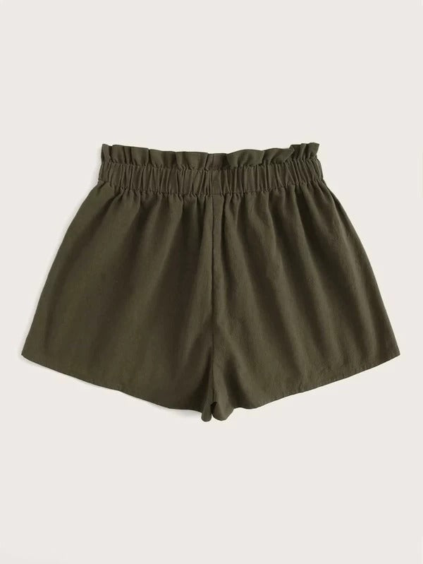 Women Paperbag Waist Knot Detail Shorts