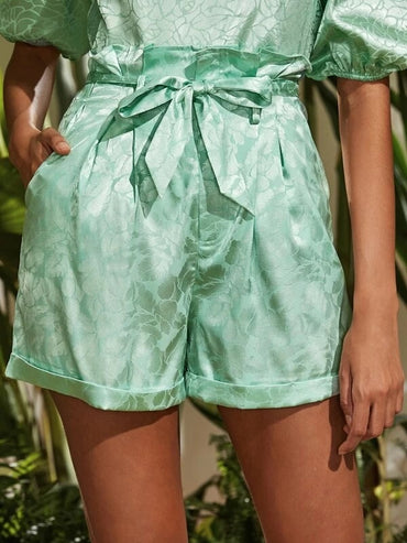 Women Paperbag Waist Self Belted Cuffed Plants Satin Shorts