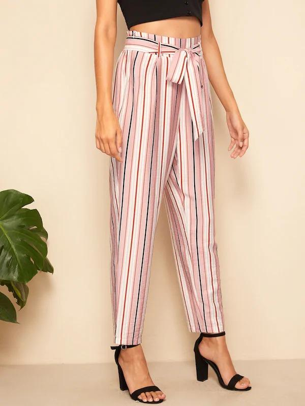 Paperbag Waist Self Belted Striped Pants