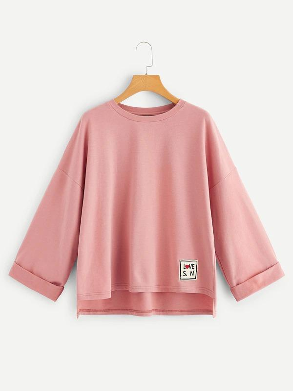 Patch Detail Cuffed Sleeve Dip Hem Boxy Pullover