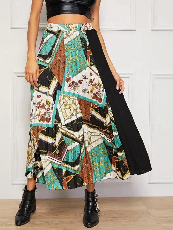Patchwork Scarf Print Spliced Pleated Skirt