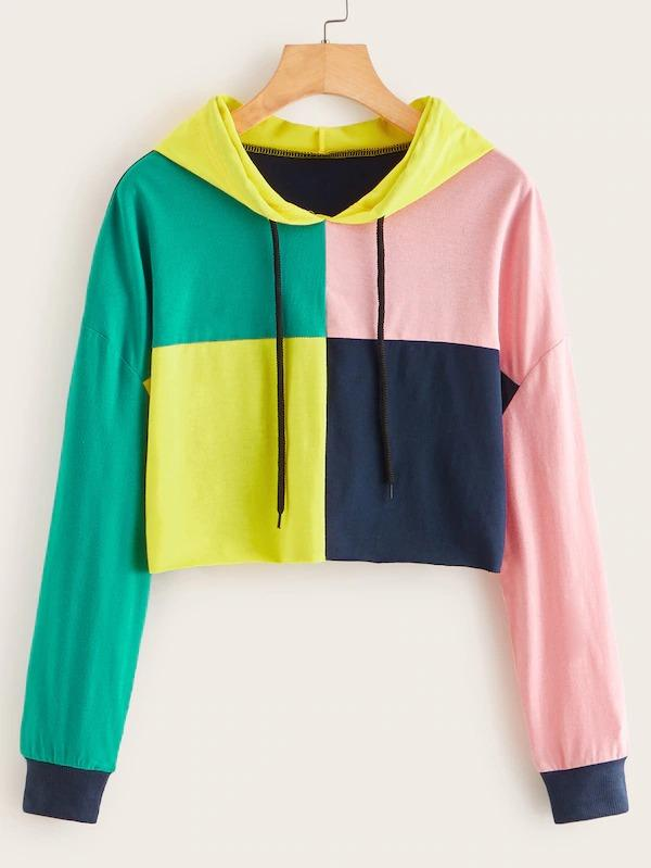 Patchwork Drop Shoulder Drawstring Hoodie