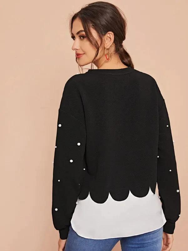 Pearl Beaded Scallop Edge 2 In 1 Sweatshirt