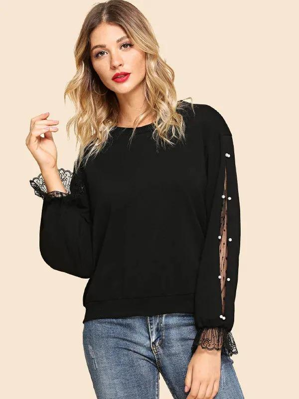 Pearls Beaded Lace Contrast Pullover