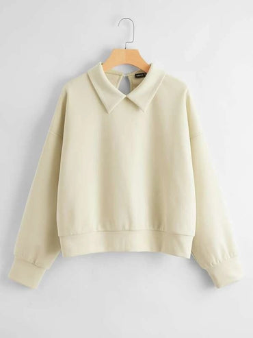 Women Peter Pan Collar Drop Shoulder Pullover