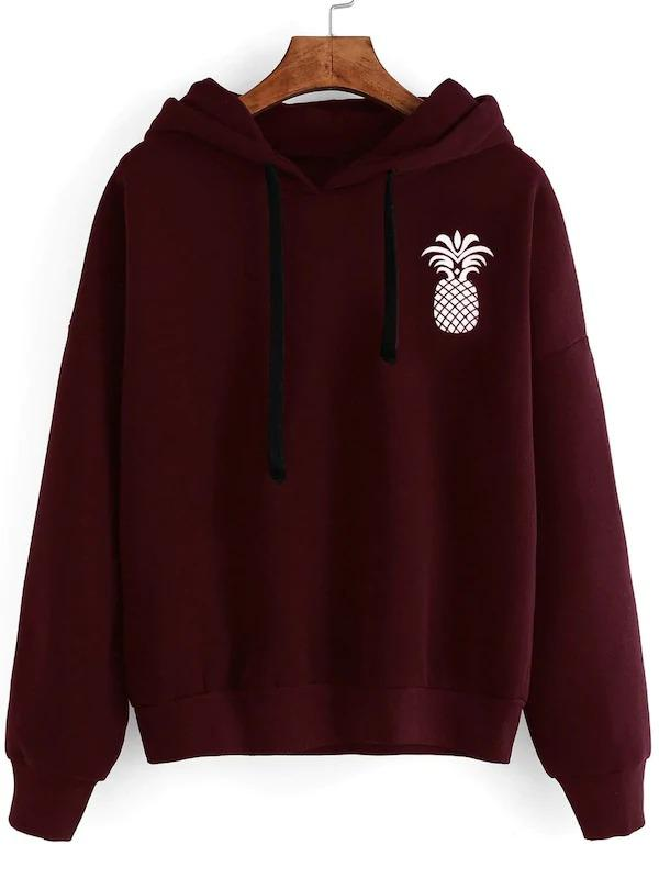 Pineapple Print Drop Shoulder Hoodie