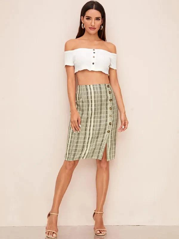 Plaid Button Front Midi Skirt