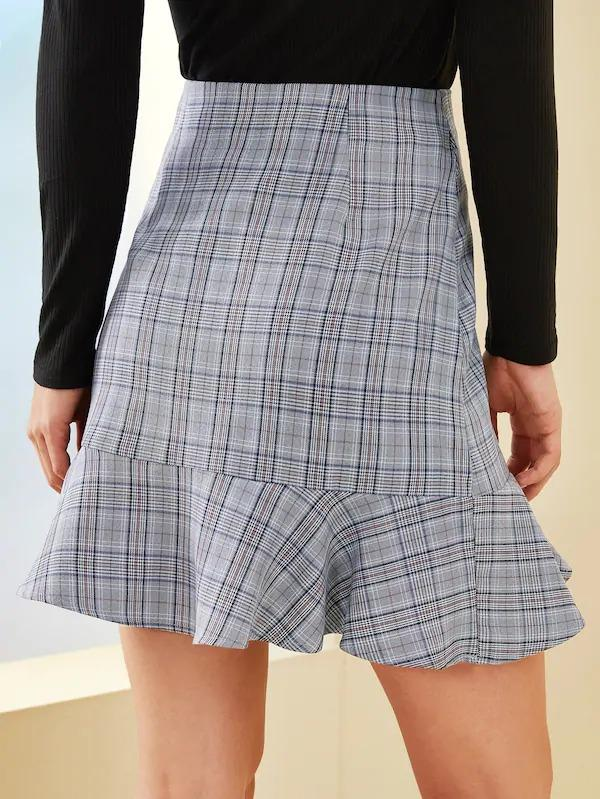 Plaid Button Front Ruffle Hem Skirt