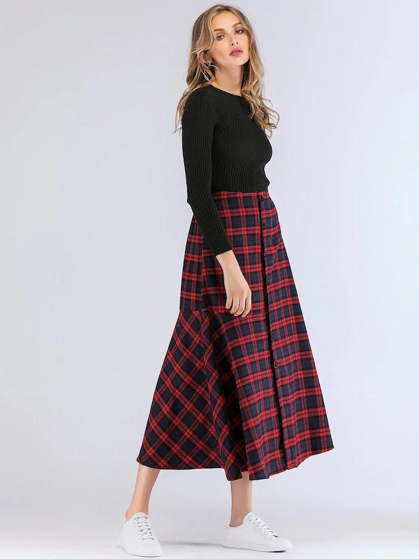 Plaid Button Through Ruffle Hem Skirt