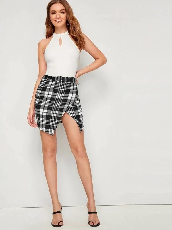 Plaid Print Buckle Belted Wrap Skirt