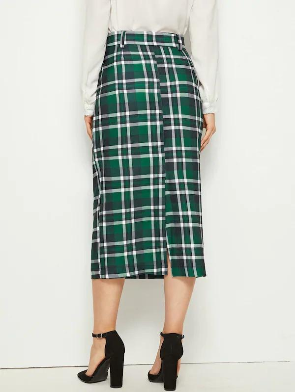 Plaid Split Back Belted Skirt