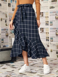 Women Plaid Belted Ruffle Wrap Skirt