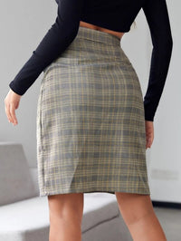 Women Plaid Split Straight Short Skirt