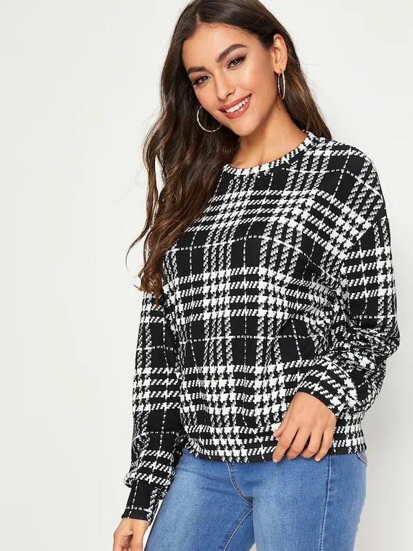 Plaid Drop Shoulder Pullover