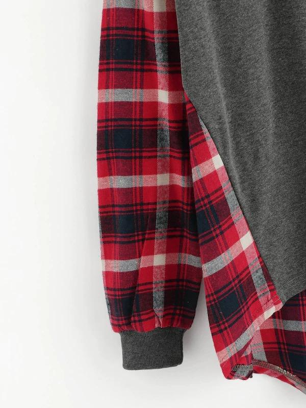 Plaid Panel Dip Hem Sweatshirt