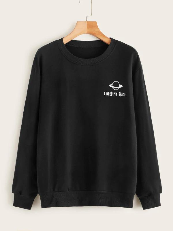 Planet And Slogan Print Round Neck Sweatshirt