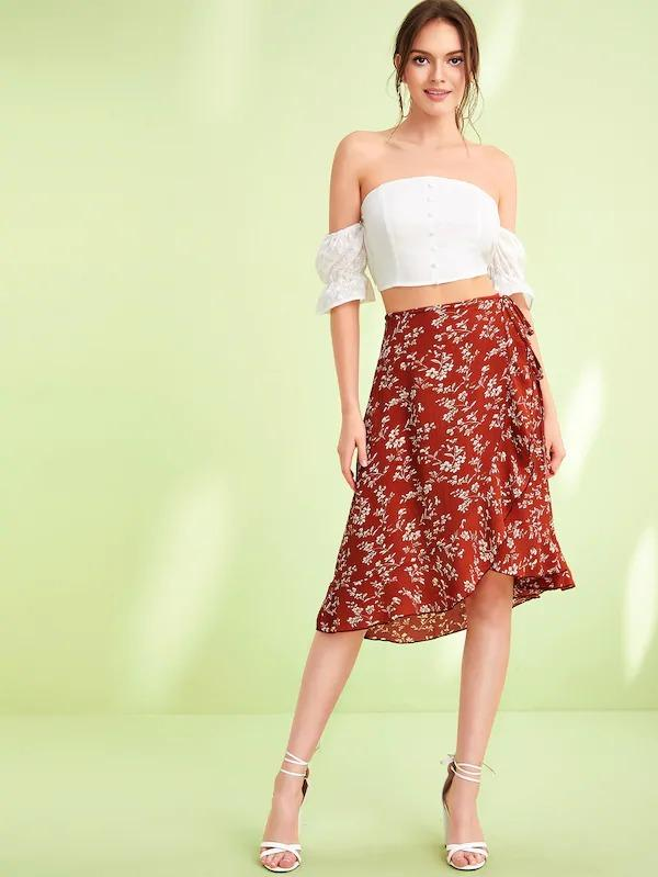 Plant Print Asymmetrical Wrap Knotted Skirt