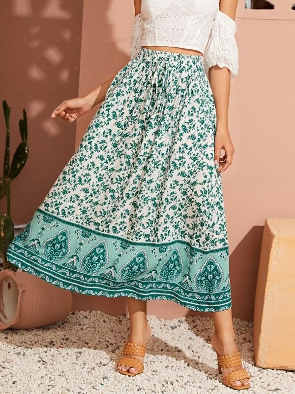 Women Plants Print Knot Front Skirt