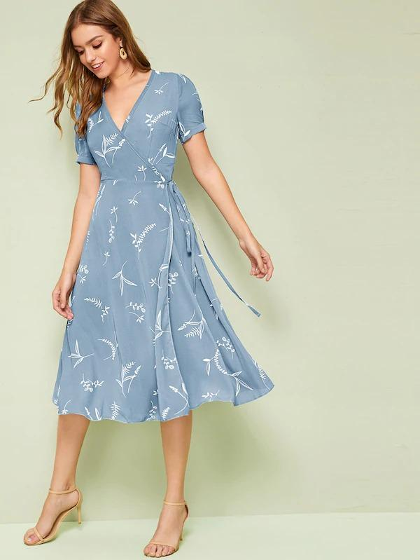 Plants Print Wrap Knotted Dress