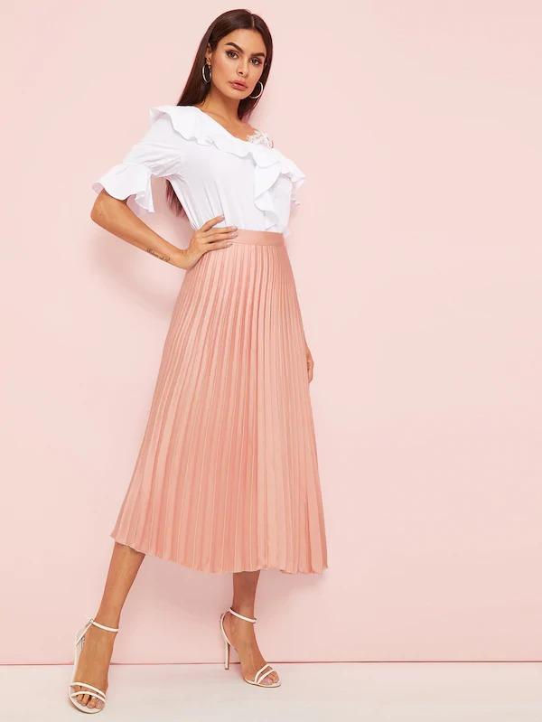 Pleated Elastic Waist Midi Skirt