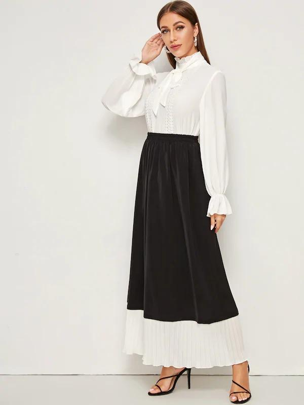 Pleated Ruffle Contrast Color Block Skirt