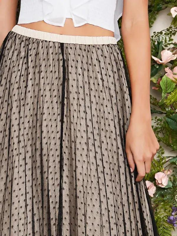 Pleated Swiss Dot Mesh Overlay Skirt