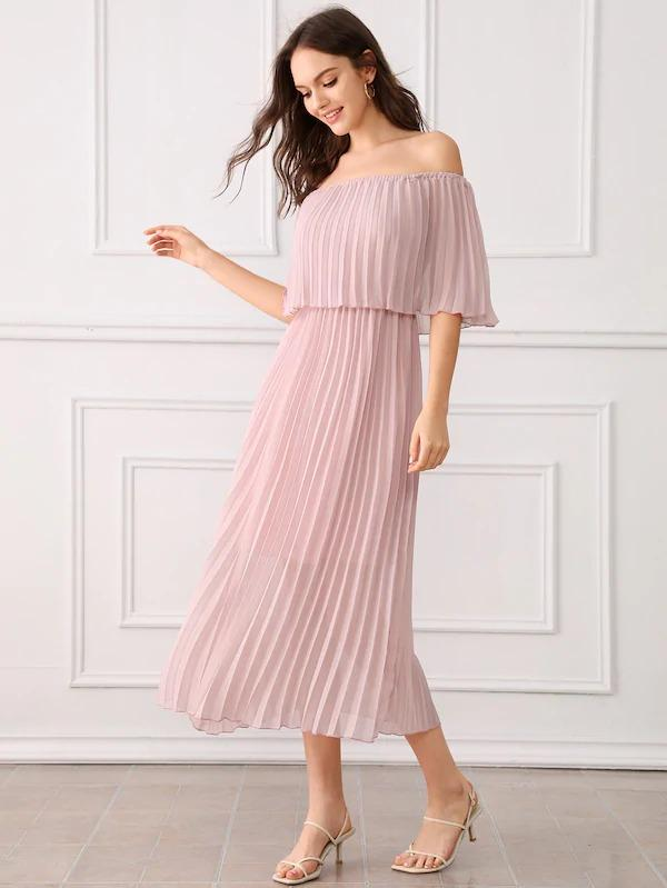 Pleated Ruffle Trim Off Shoulder Chiffon Dress