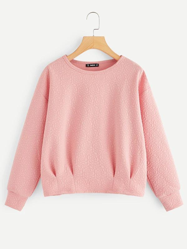 Pleated Textured Solid Pullover