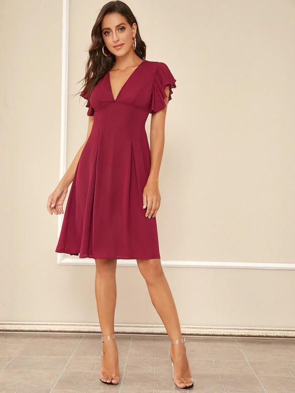 Plunging Butterfly Sleeve Solid Dress