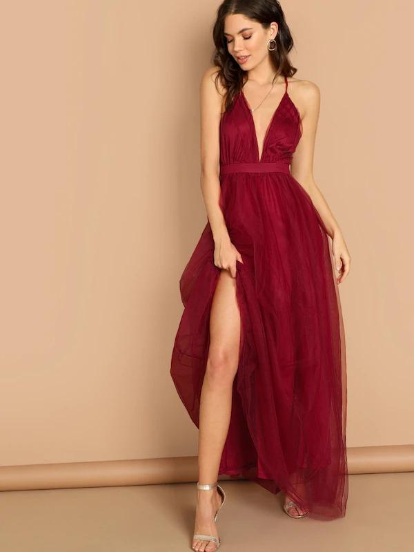 Plunging Neck Mesh-Overlay Maxi Dress
