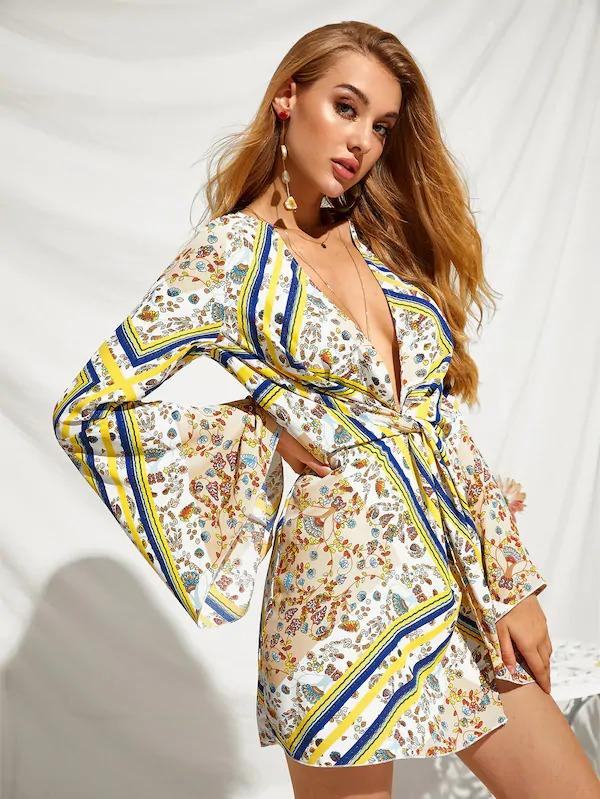 Plunging Neck Twist Front Bell Sleeve Scarf Print Dress