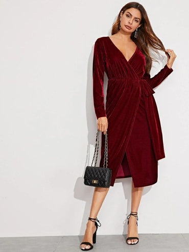 Plunging Neck Wrap Velvet Blouson Dress