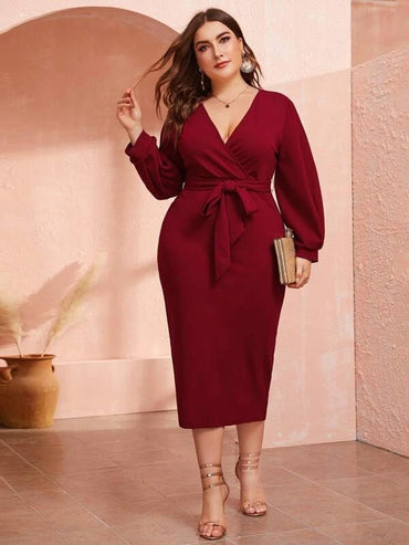 Women Plus Size Surplice Neck Slit Hem Belted Dress