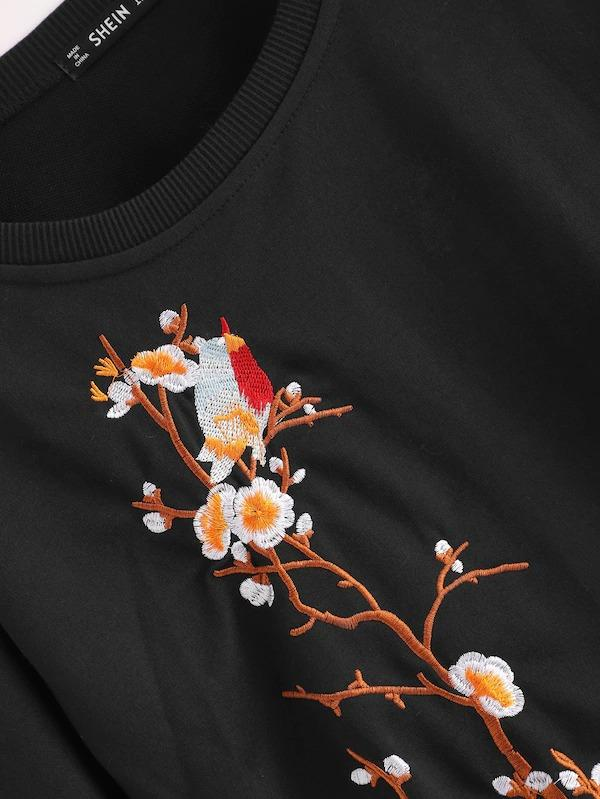 Plus Botanical Embroidery Sweatshirt