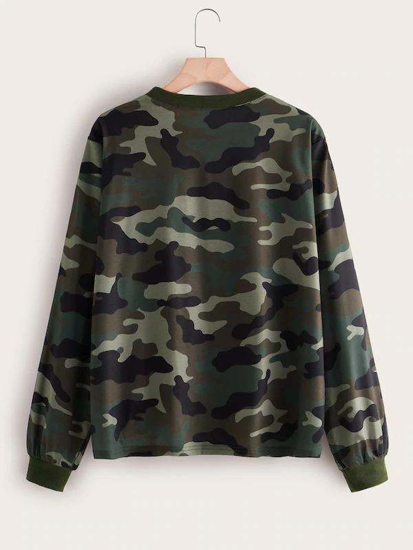 Plus Camo Print Round Neck Sweatshirt