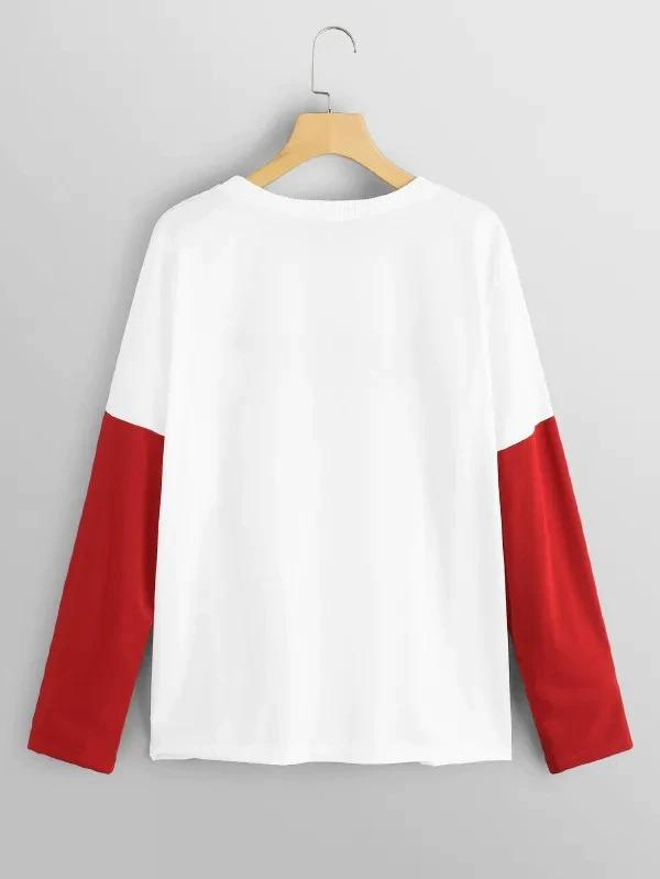 Plus Color Block Letter Sweatshirt