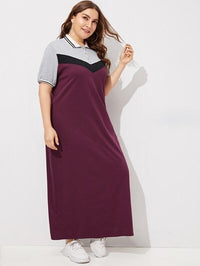 Plus Color Block Longline Polo Dress