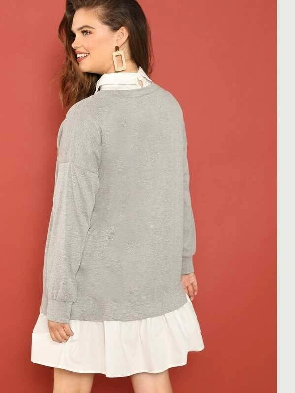 Plus Contrast Collar And Hem Heathered Knit Dress