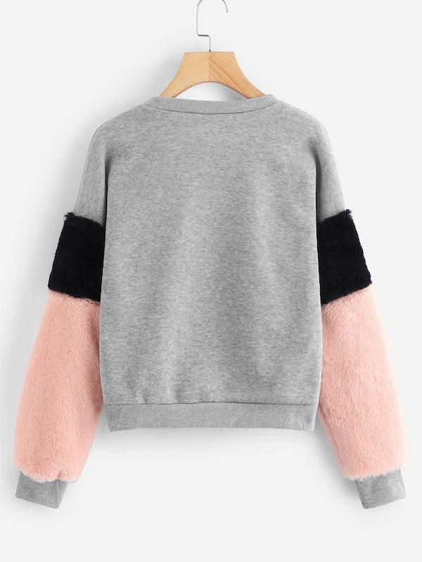 Plus Contrast Faux Fur Color-Block Sweatshirt