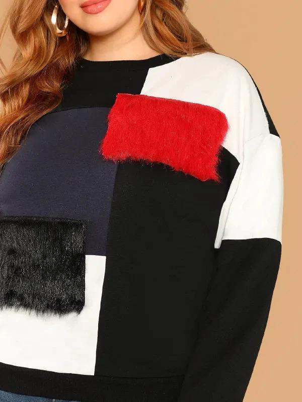 Plus Contrast Faux Fur Detail Colorblock Pullover
